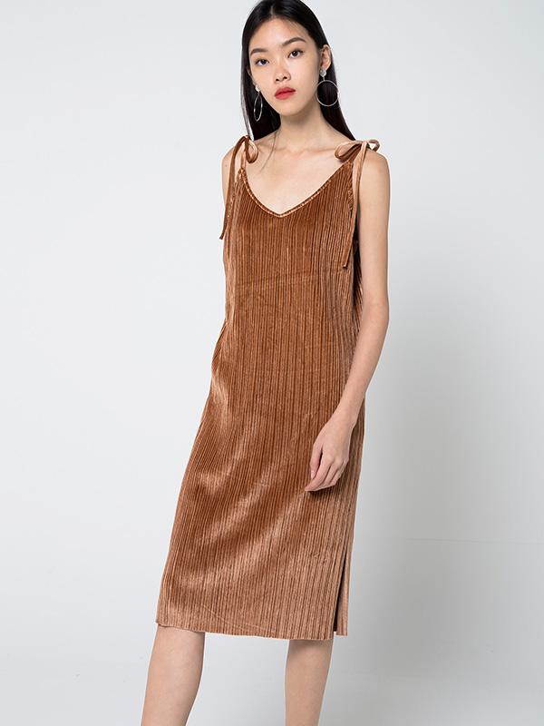 CLEMENTE VELVET PLEATED DRESS - BRONZE