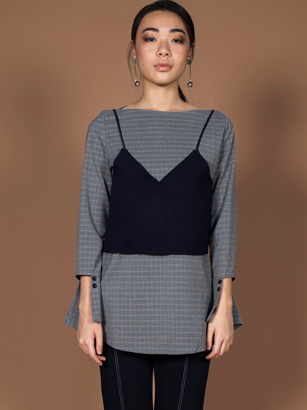 DIETRICH 2PC CHECK BLOUSE - GREY