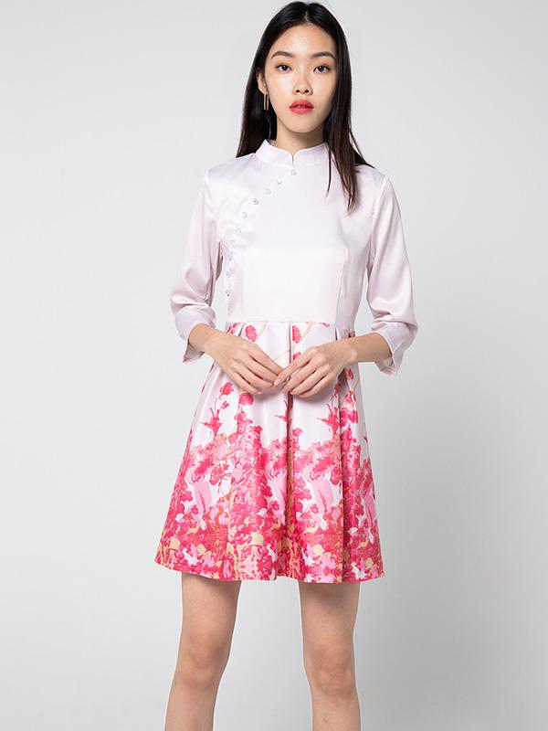 FAWCETT MANDARIN COLLAR DRESS - PINK