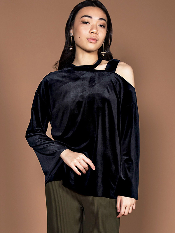 KONSTAN ASYMMETRICAL BLOUSE - BLACK