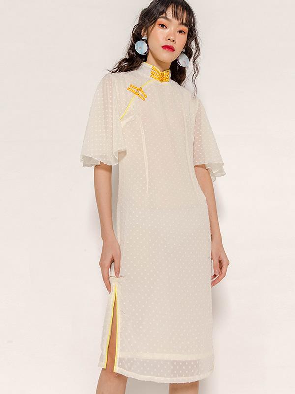 LEVINE MANDARIN COLLAR DRESS - IVORY [STUDIO]
