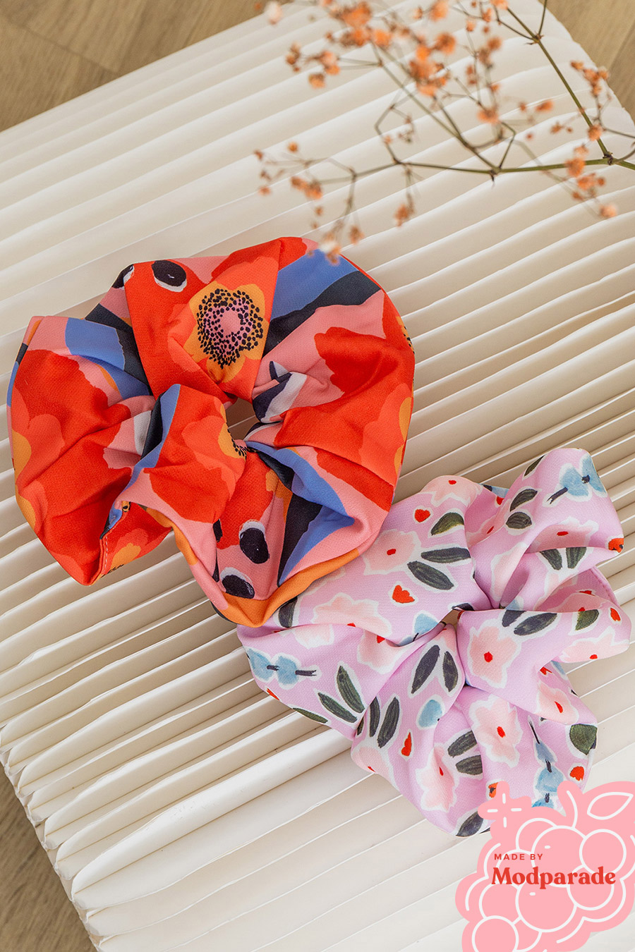 GIANT SCRUNCHIE SET 3 - CALENDULA & PERIWINKLE