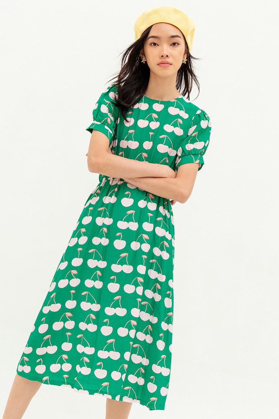 *BO* ADDYSON DRESS - EMERALD CHERRY