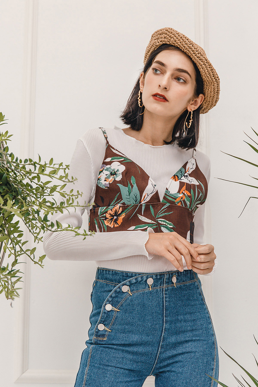 ANGIE 2PC FLORAL PULLOVER SET - WHITE BROWN [QUEENDOM]