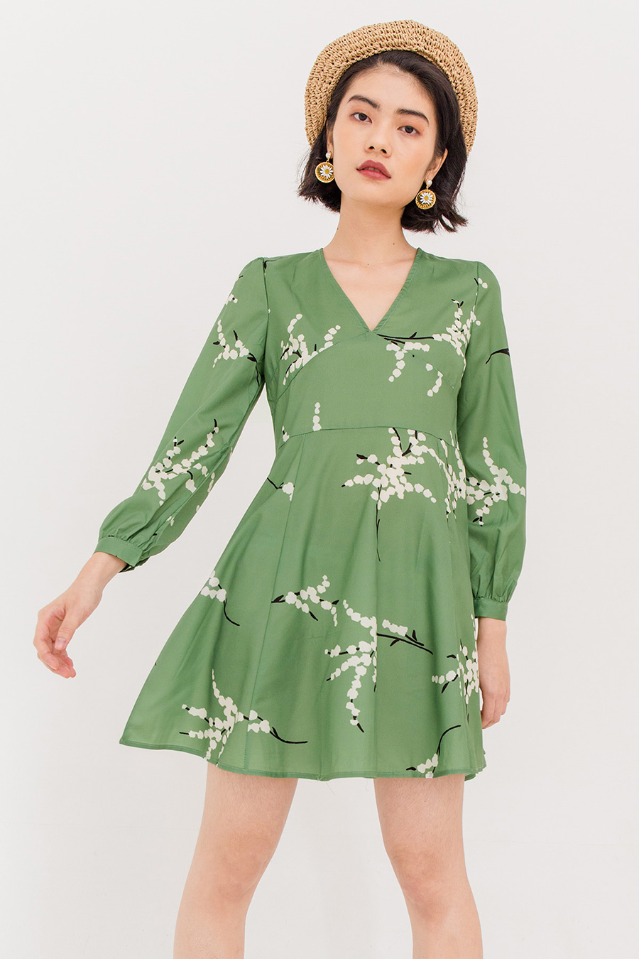 *BO* ANISE FLORAL FLARE DRESS - GREEN