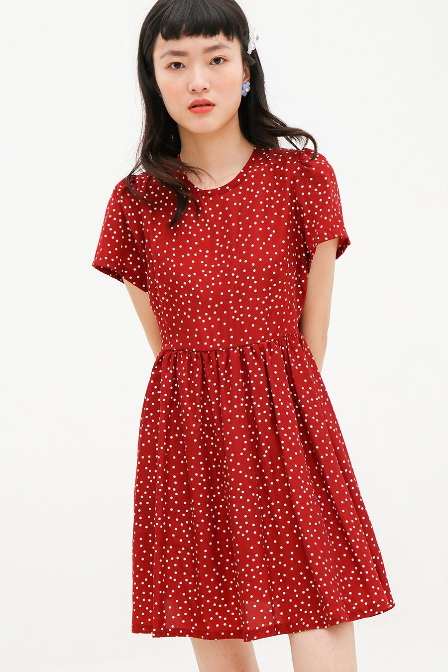 AURIANE DRESS - PLUM DOTTY