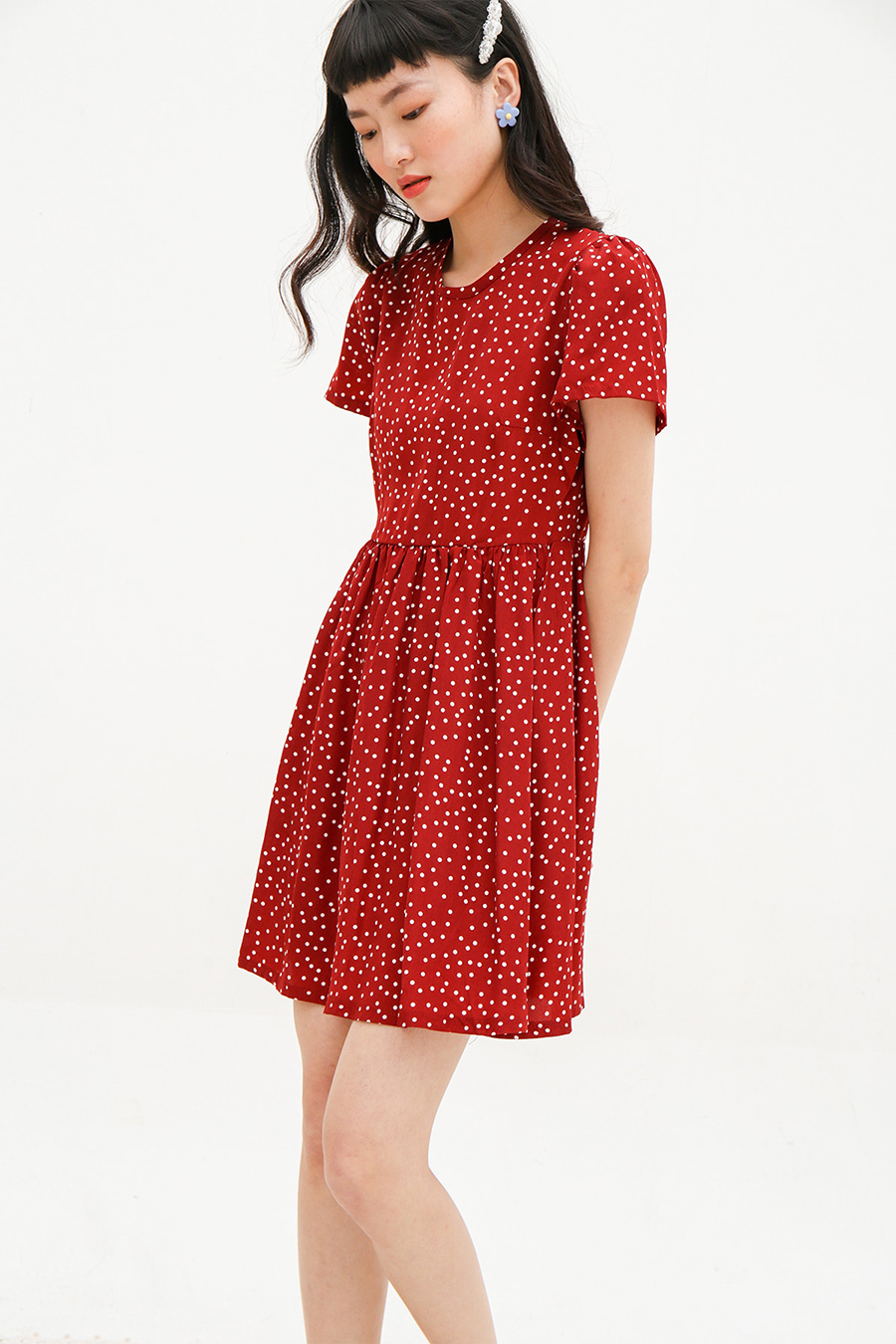 AURIANE DRESS - PLUM DOTTY