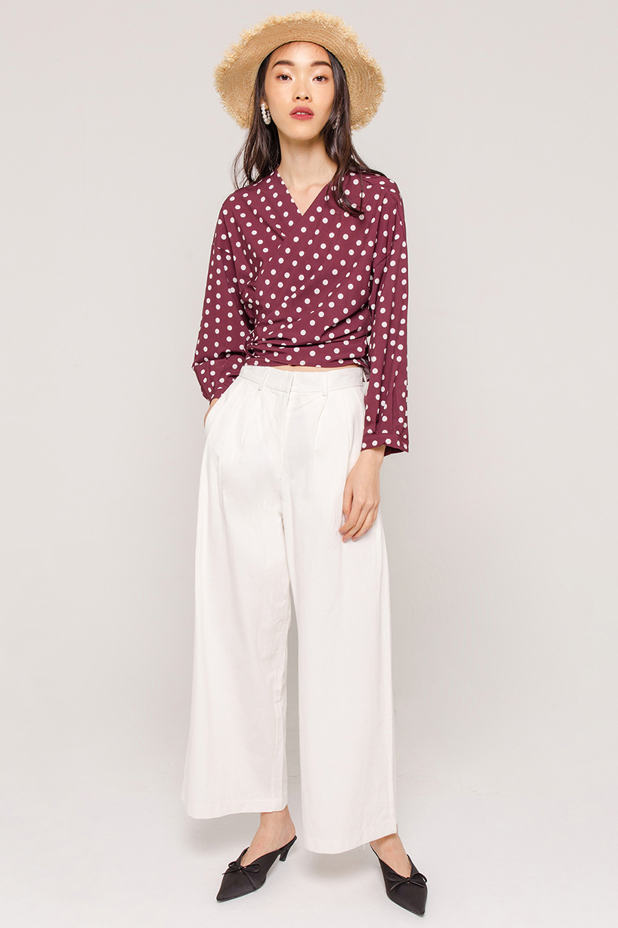 BAILEY DOTTED WRAP BLOUSE - WINE RED [QUEENDOM]