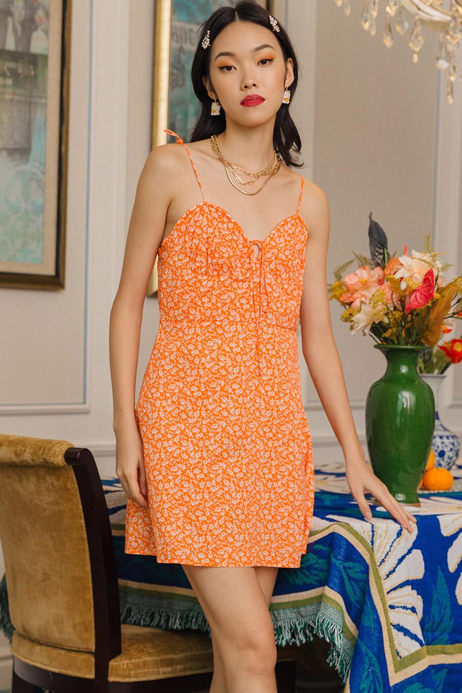 BERDINE DRESS - TANGERINE FLEUR