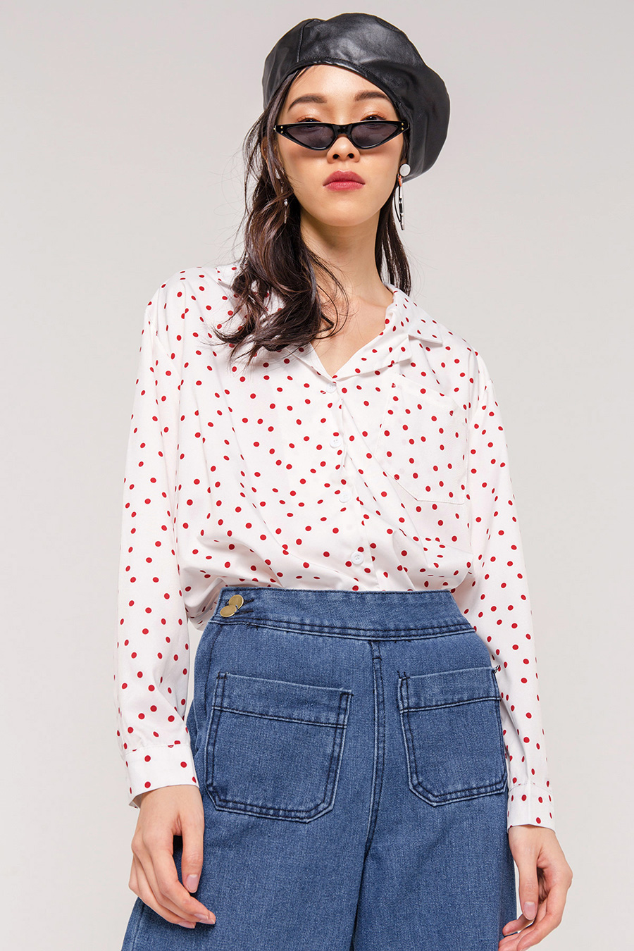 BETH DOTTED OPEN COLLAR SHIRT - IVORY [QUEENDOM]