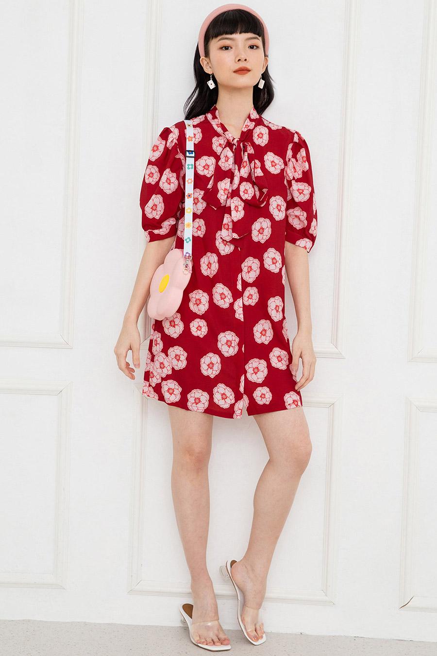 BONNARY DRESS - SCARLET FLEUR