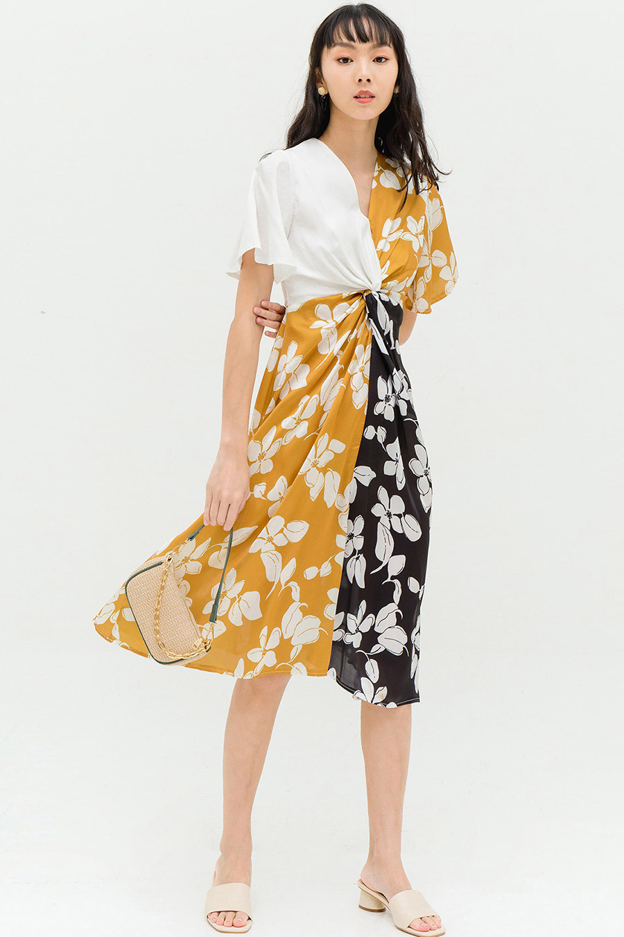 BRITTNEY DRESS - OCHRE FLEUR