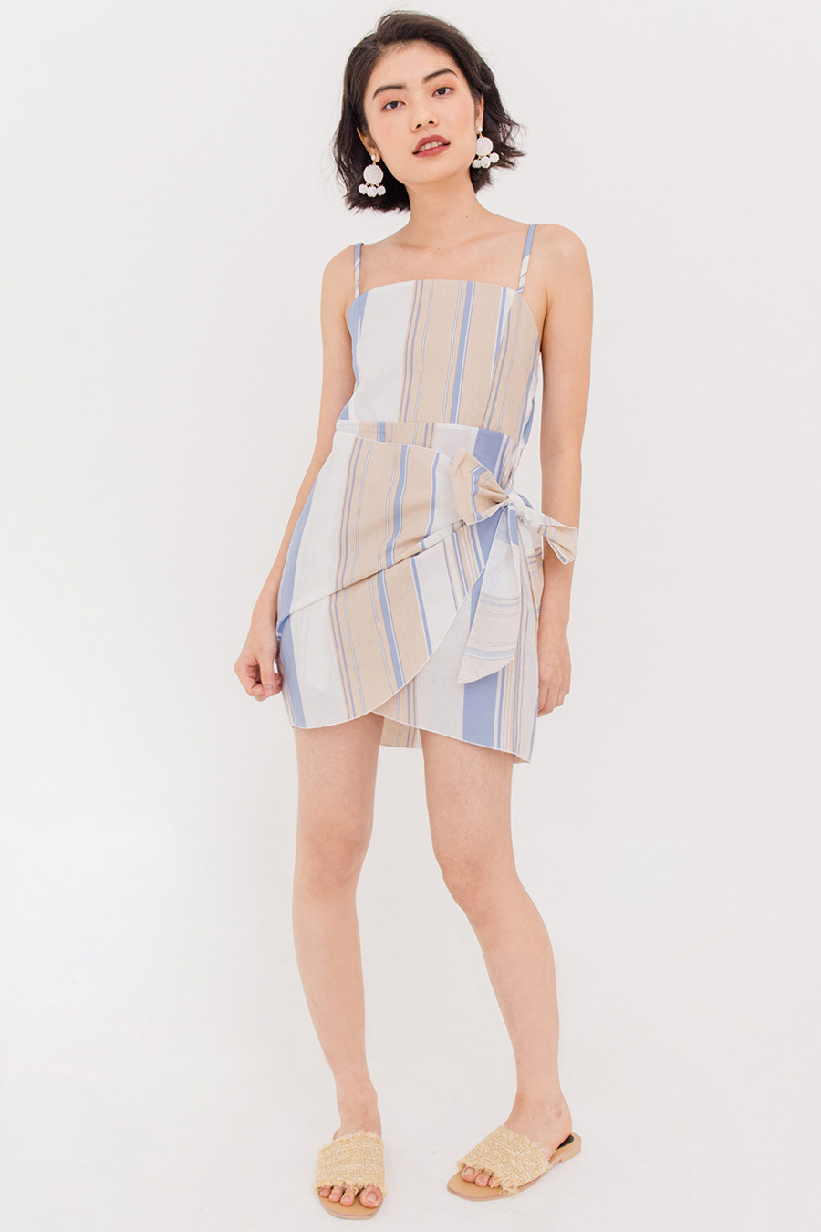 BRUNA THIN STRAP WRAP DRESS - BLUE