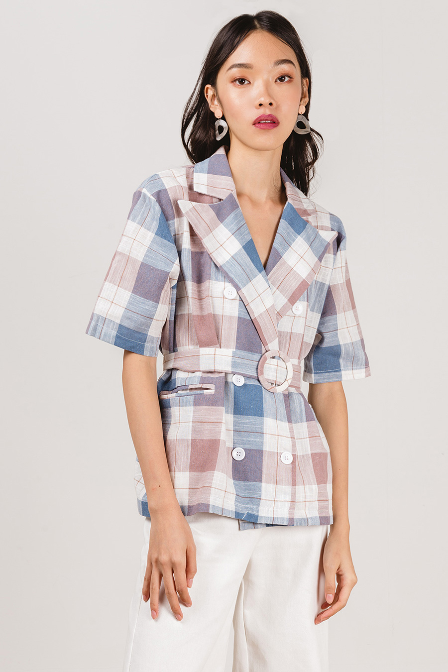 CELINE TOP - GLAUCOUS CHECK