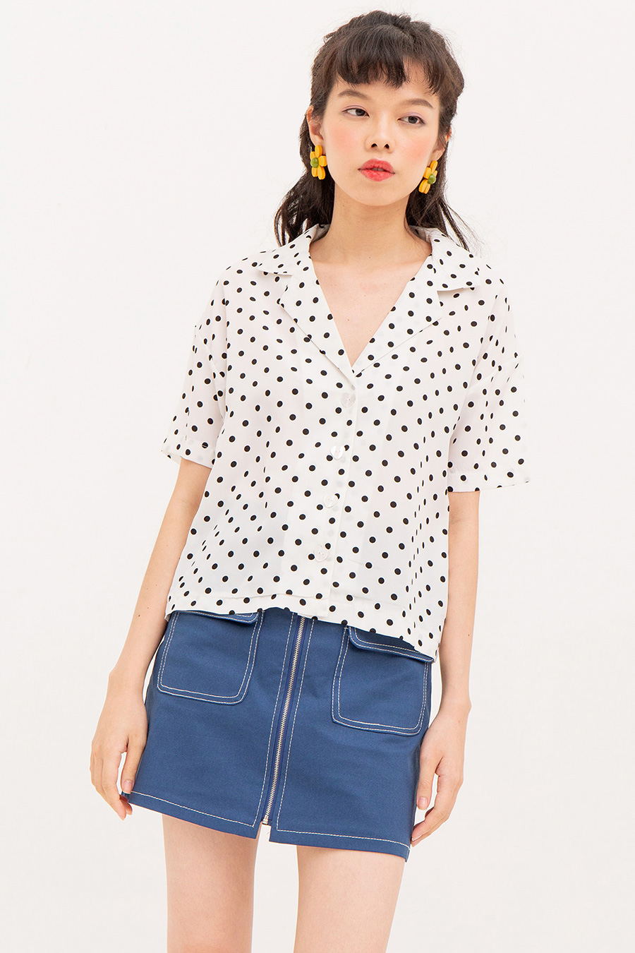 CESCA TOP - IVORY DOTTY