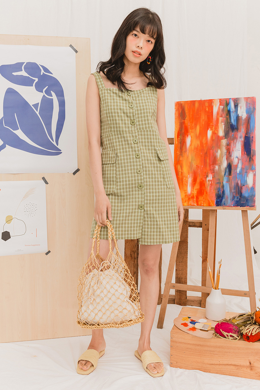 CETUS DRESS - MATCHA CHECK