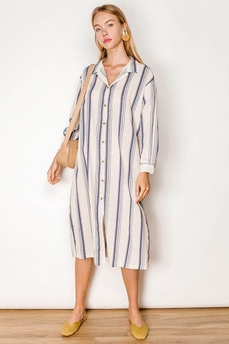 CHARLEE DRESS - BISCOTTI STRIPE