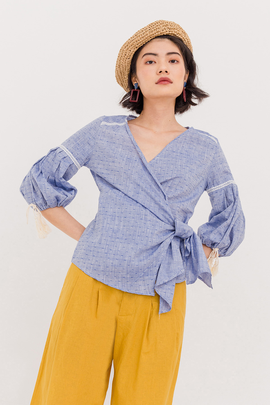 *SALE* CINDY WRAP BLOUSE - BLUE