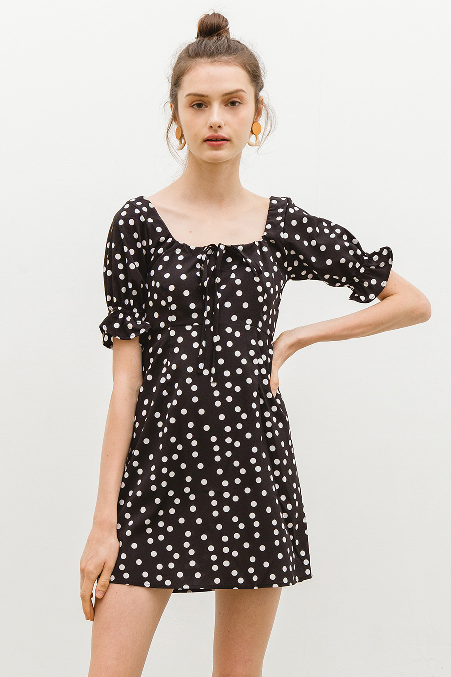 CLEMENCE DRESS - NOIR DOTTY