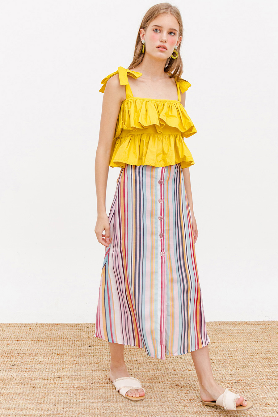 CLUE MIDI SKIRT - BERRY STRIPE