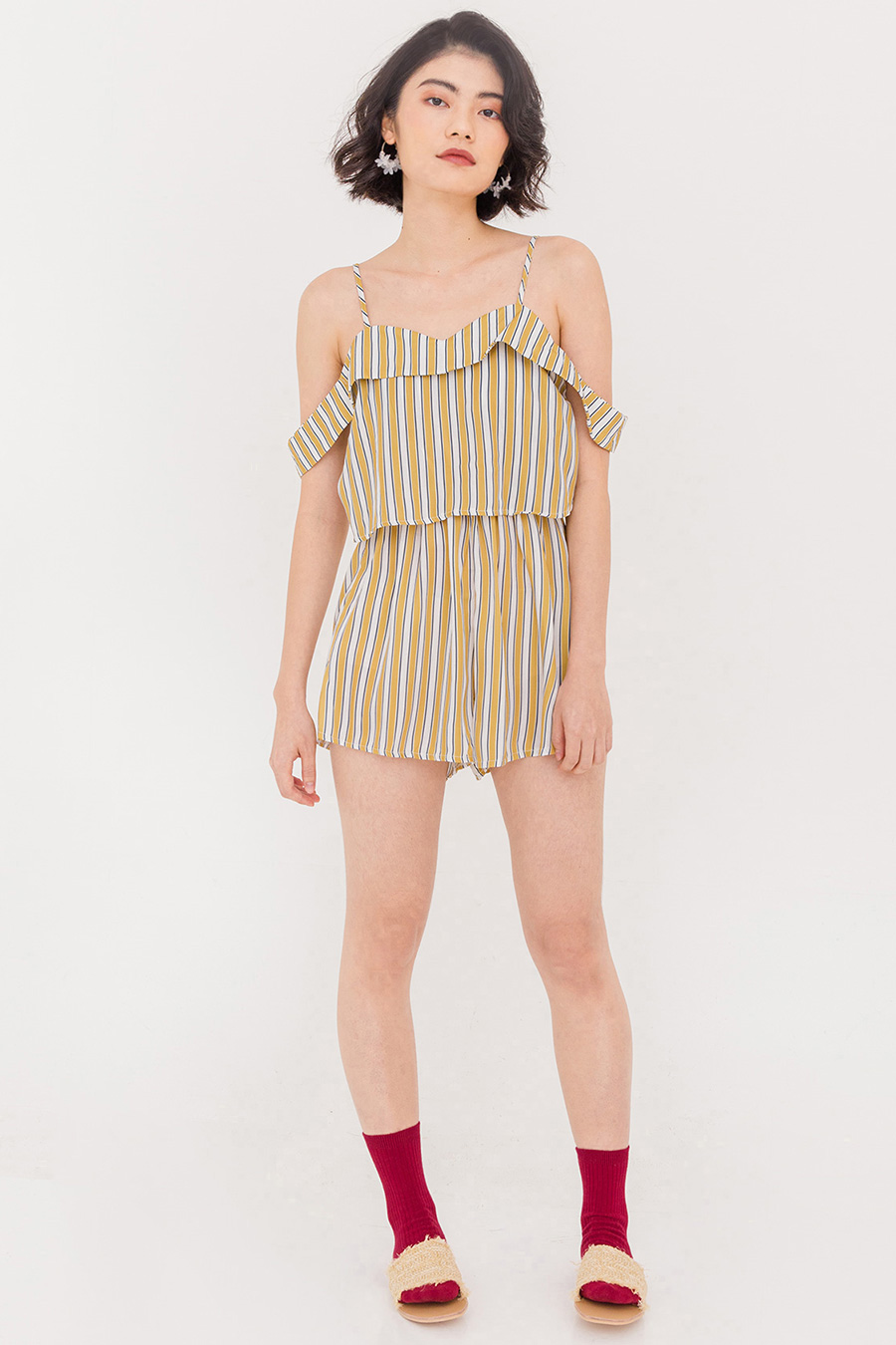 *SALE* CLYDE STRIPE PLAYSUIT - CANARY