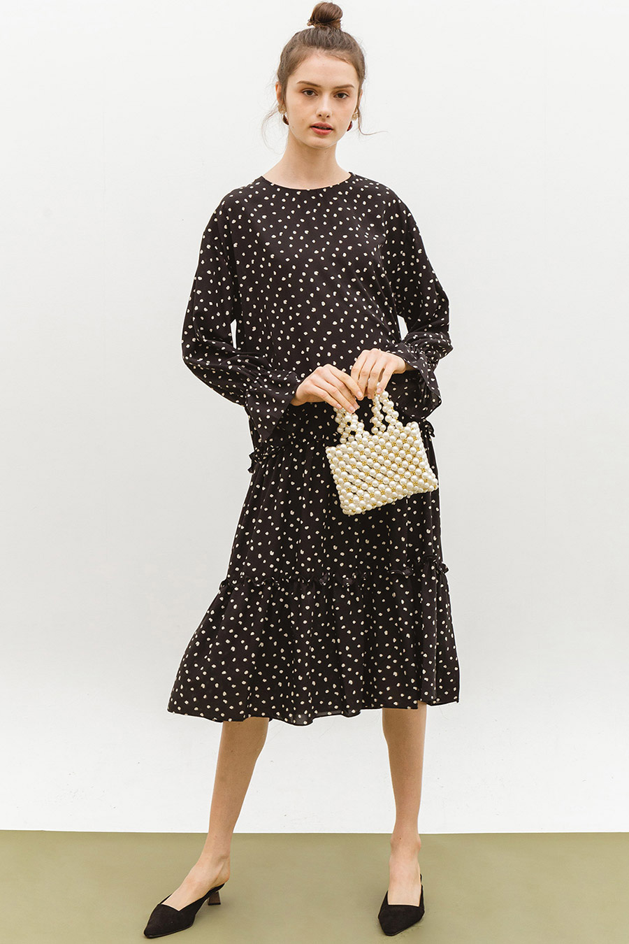 CORA DRESS - NOIR DOTTY