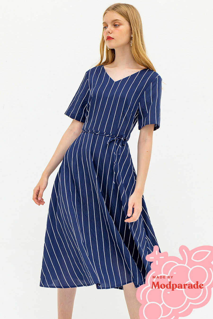 DAHLIA DRESS - MIDNIGHT STRIPE [BY MODPARADE]