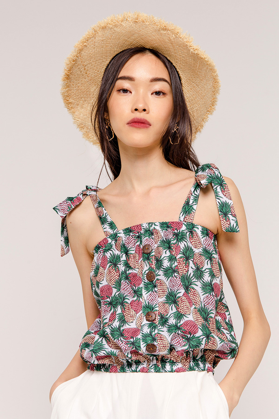 DASI PINEAPPLE THICK STRAP BLOUSE - IVORY [QUEENDOM]