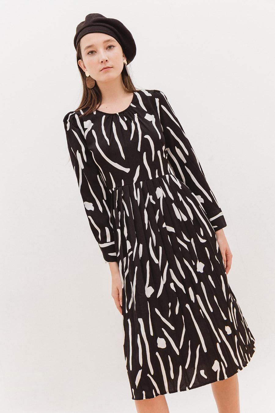DELANO DRESS - NOIR BROSSE