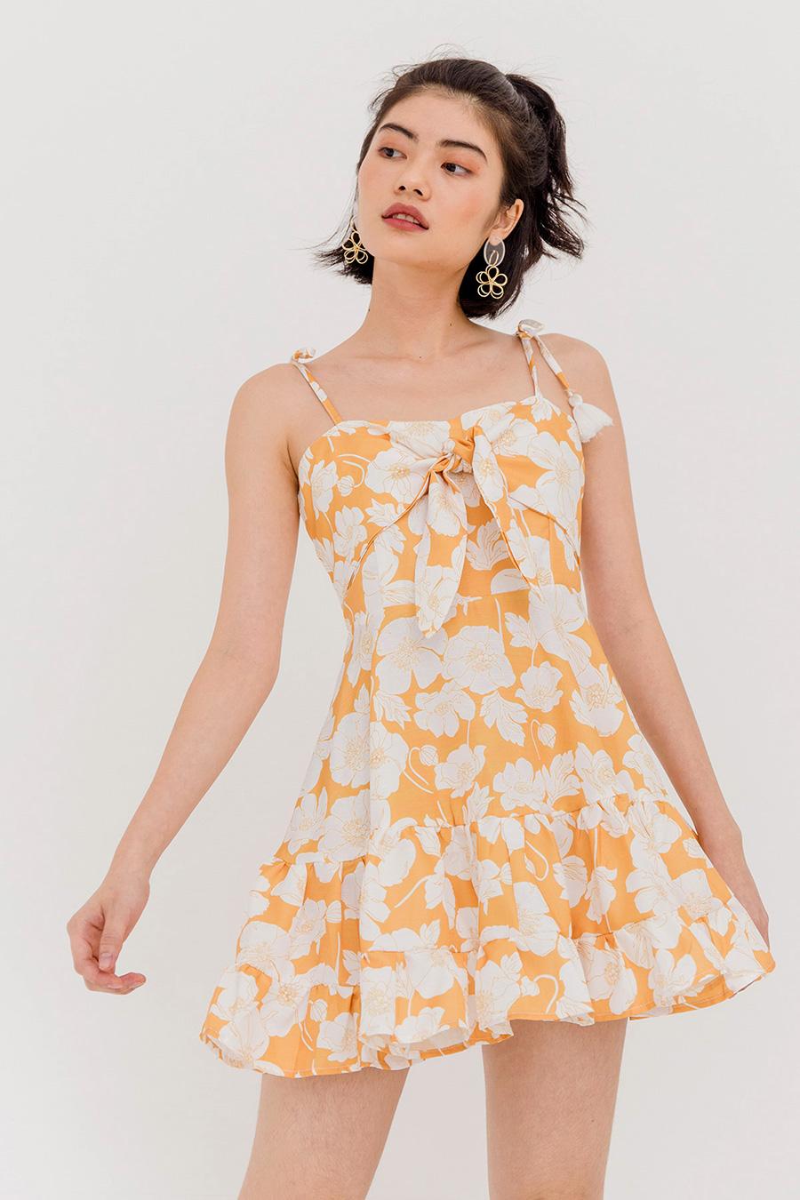 DELPHI FLORAL THIN STRAP DRESS - TANGERINE