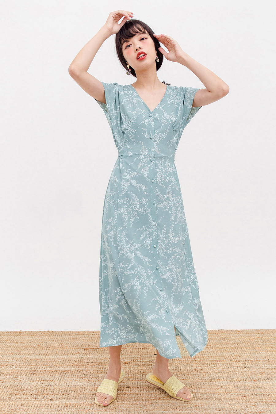 DESSE MIDI DRESS - LAKE GREEN FLEUR
