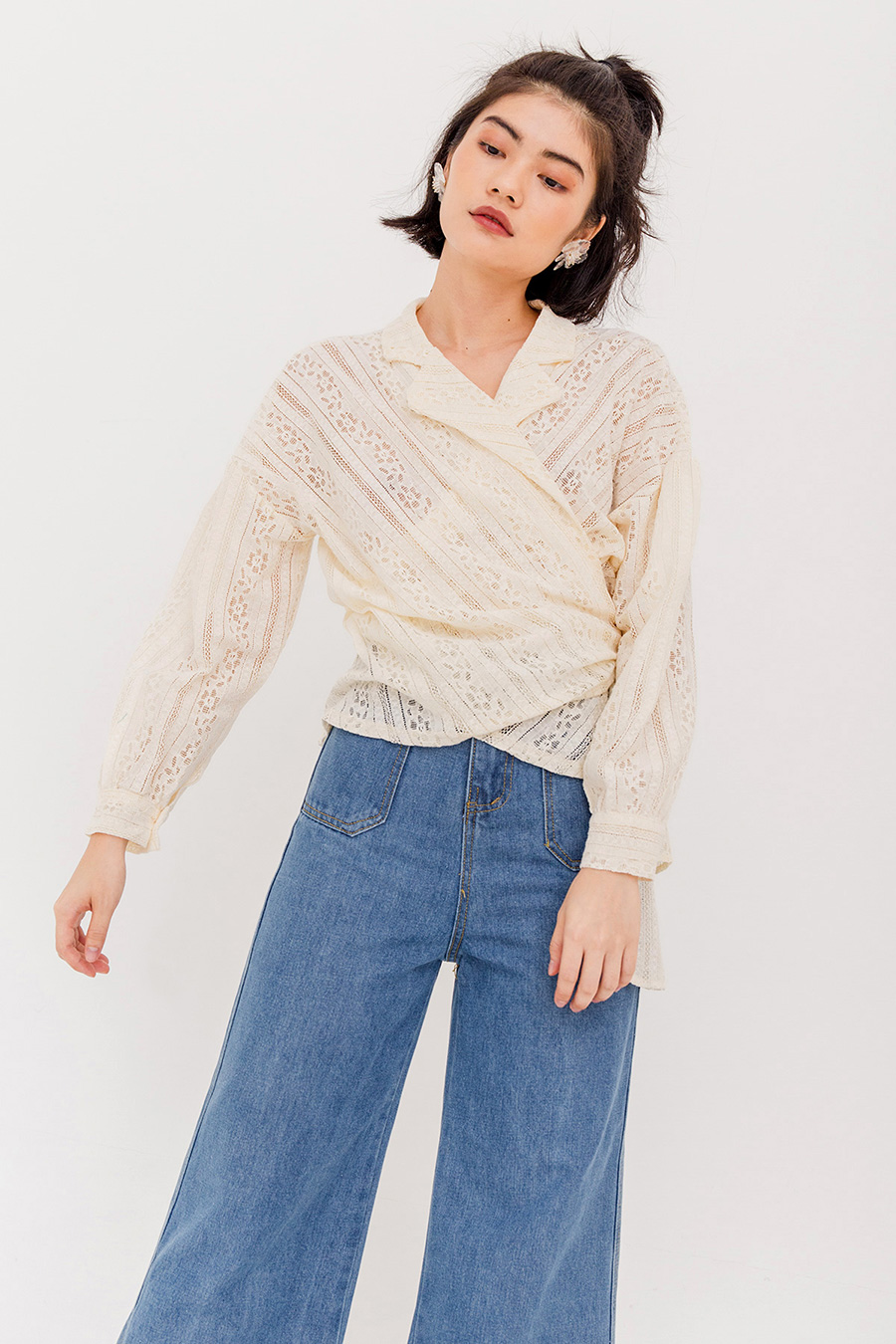 *SALE* DIANA CROCHET WRAP BLOUSE - CREAM