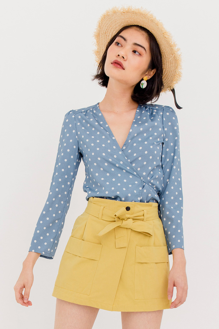 *BO* DOREMI DOTTED BLOUSE - BLUE