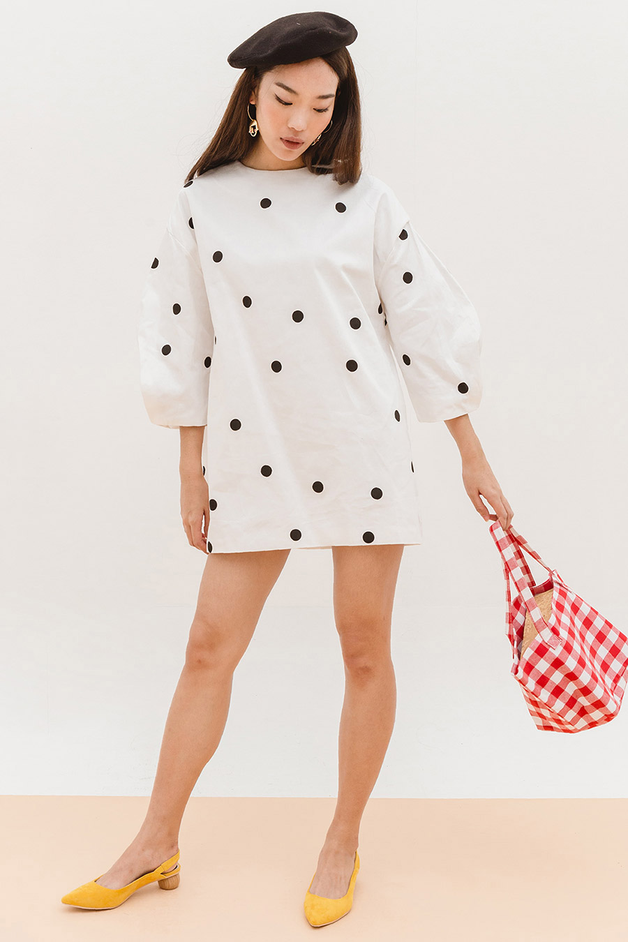 *BO* EDDA DRESS - IVORY DOTTY