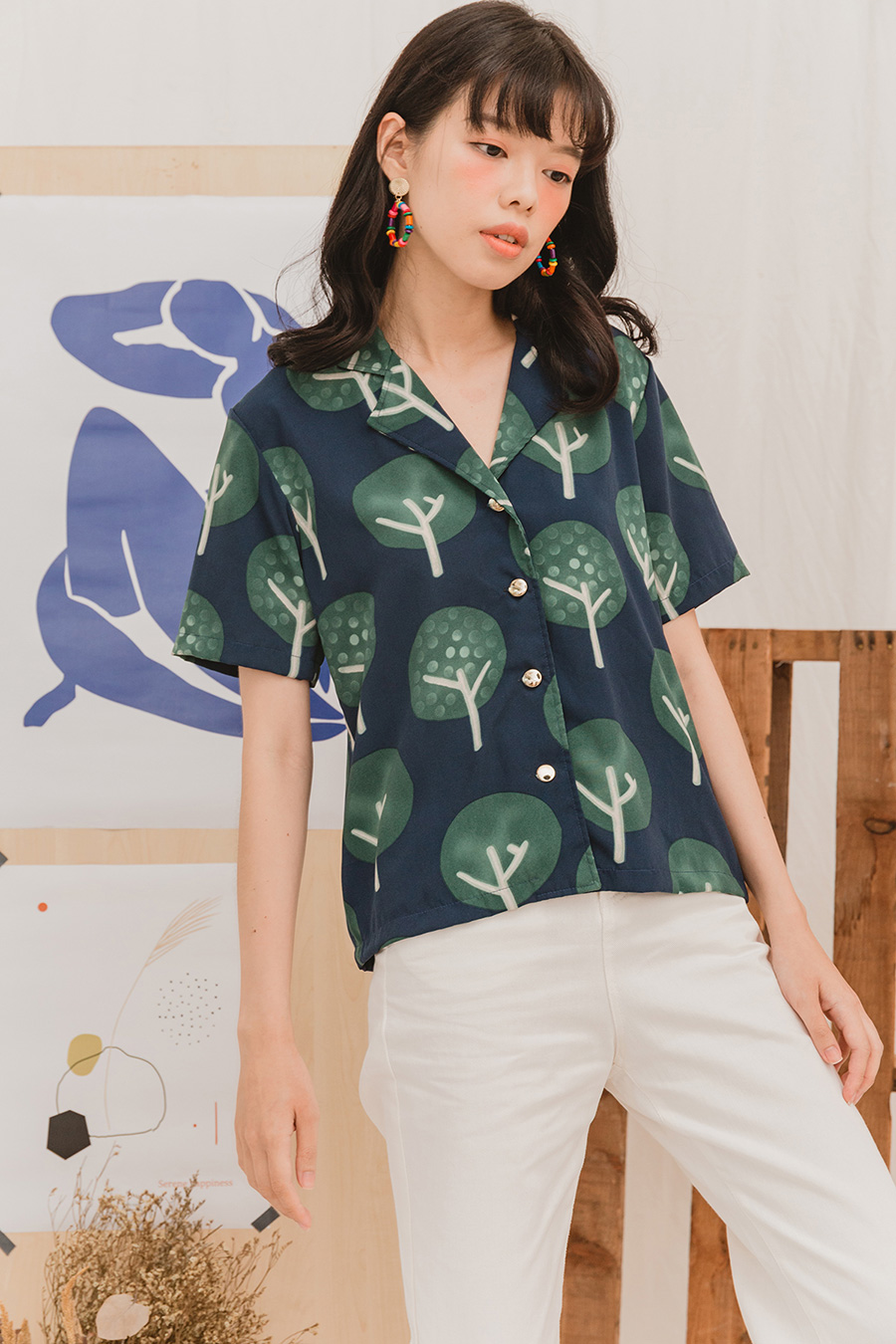 *BO* ELIO SHIRT - NAVY FOREST [BY MODPARADE]