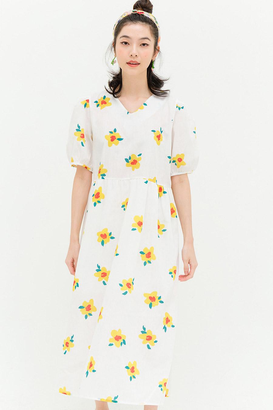 ELISE DRESS - IVORY FLEUR