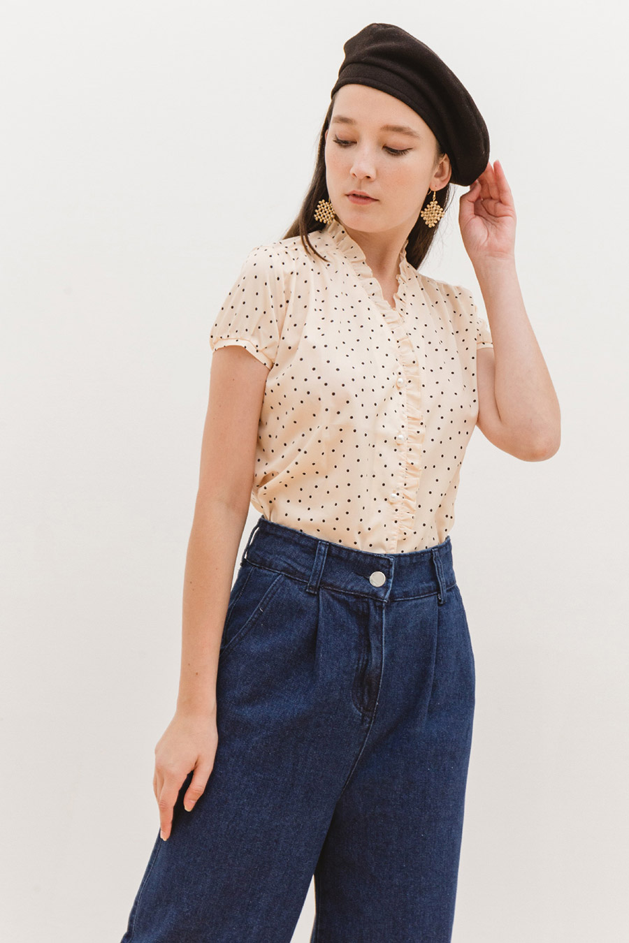ELMA TOP - IVORY DOTTY