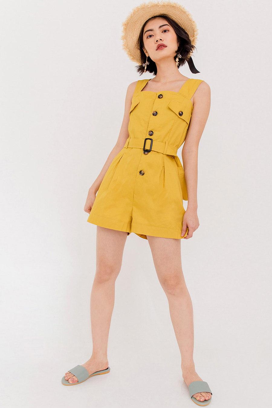 ELORA THICK STRAP PLAYSUIT - MARIGOLD
