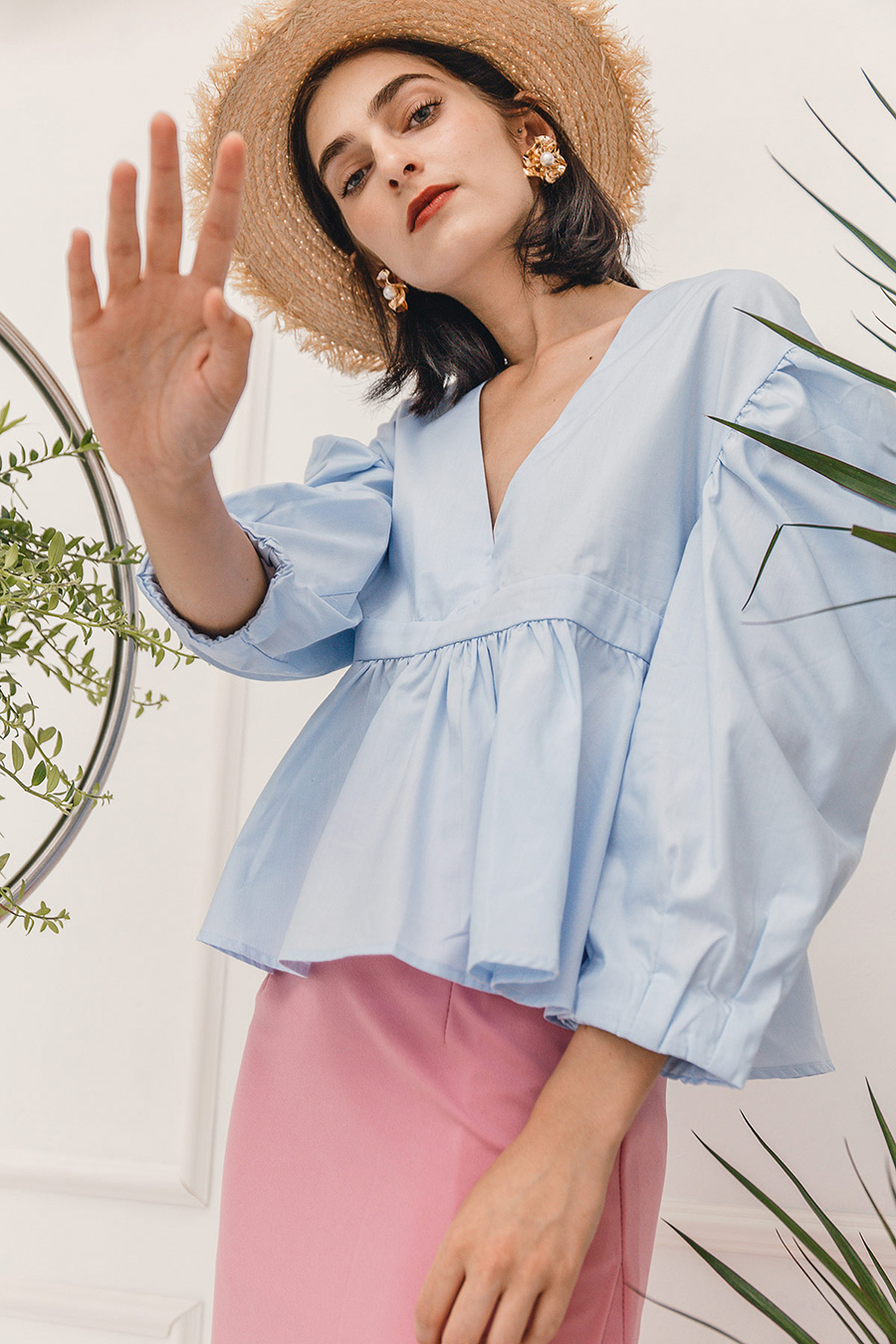 *SALE* ESTHER PUFF SLEEVE BLOUSE - SKY BLUE