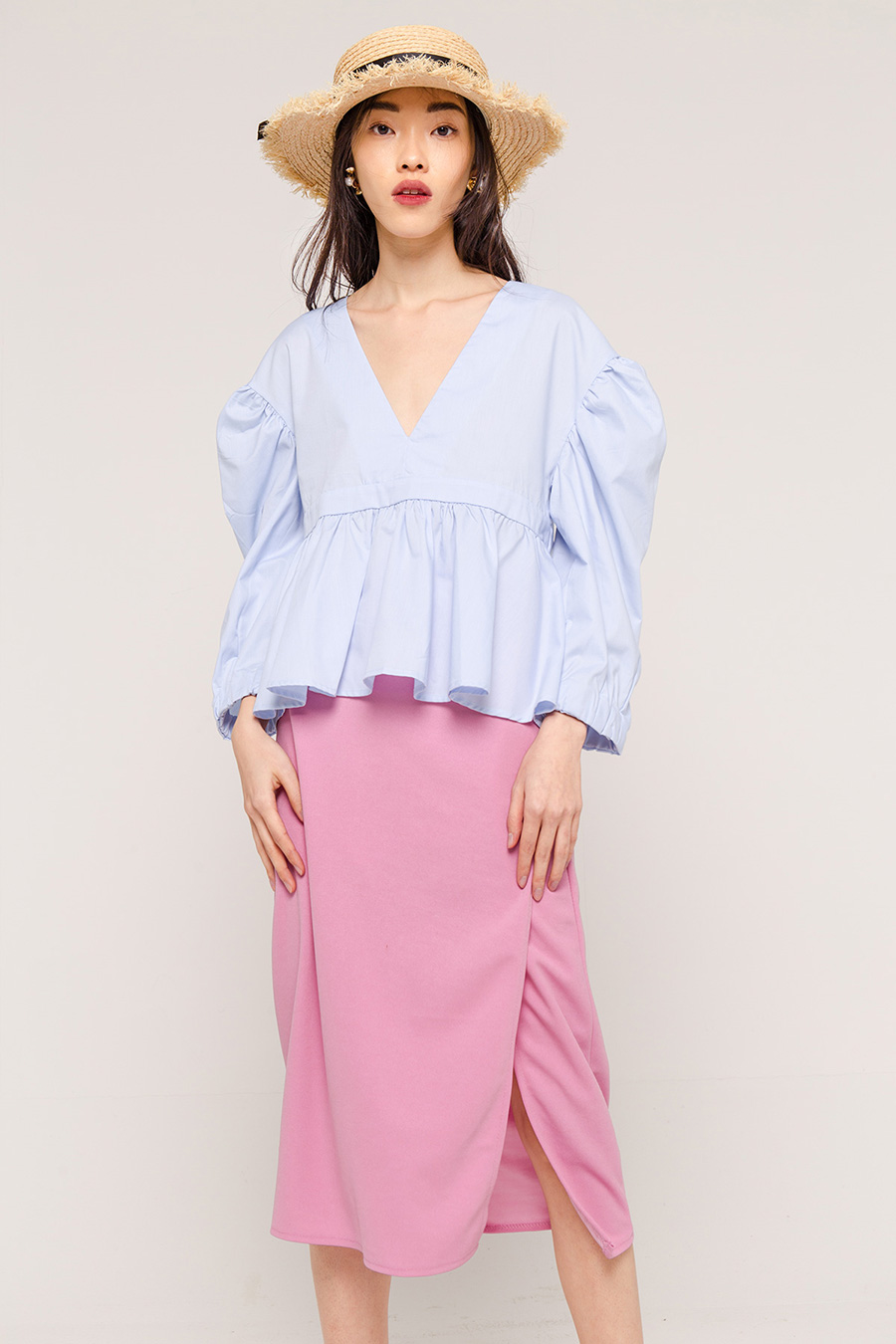 ESTHER PUFF SLEEVE BLOUSE - SKY BLUE [QUEENDOM]