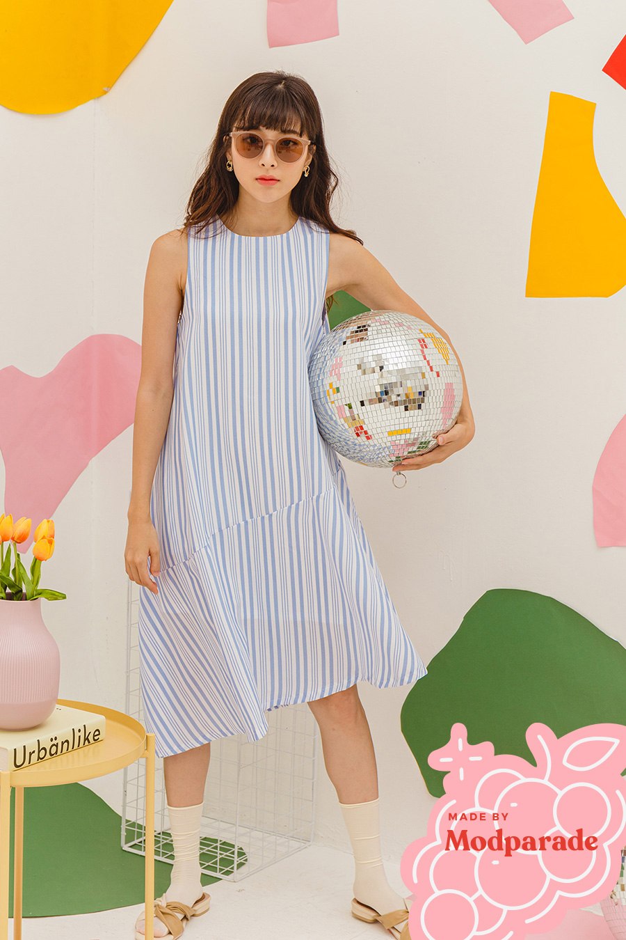 FIUGGI DRESS - MILK JUG STRIPE [BY MODPARADE]