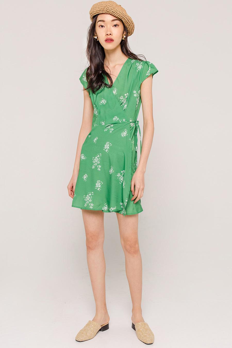 *SALE* FLORINE FLORAL WRAP DRESS - EMERALD GREEN