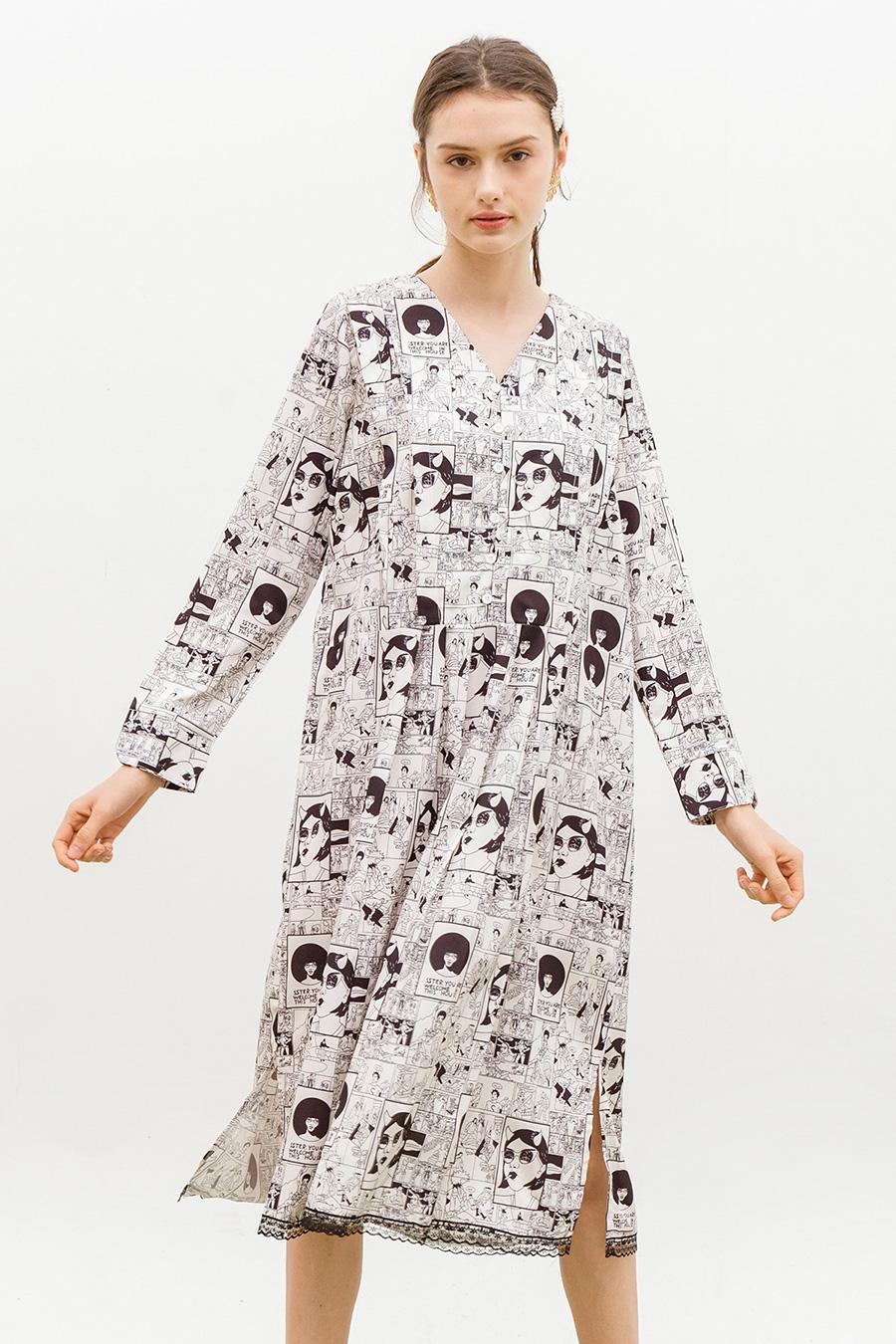 *SALE* FONTAINE DRESS - COMIC STRIP