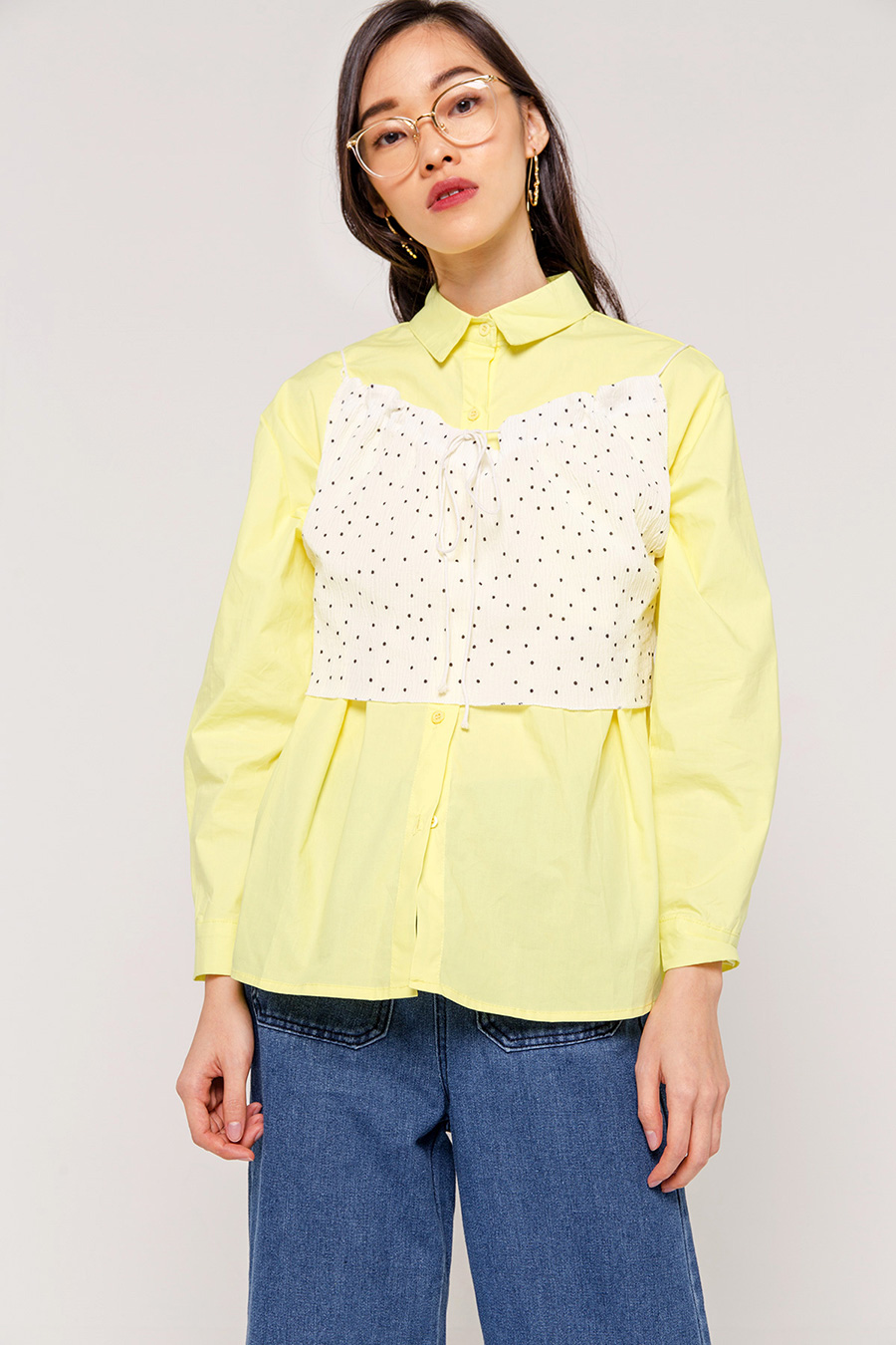 FRANNIE CRINKLED CROPPED BLOUSE - IVORY [QUEENDOM]