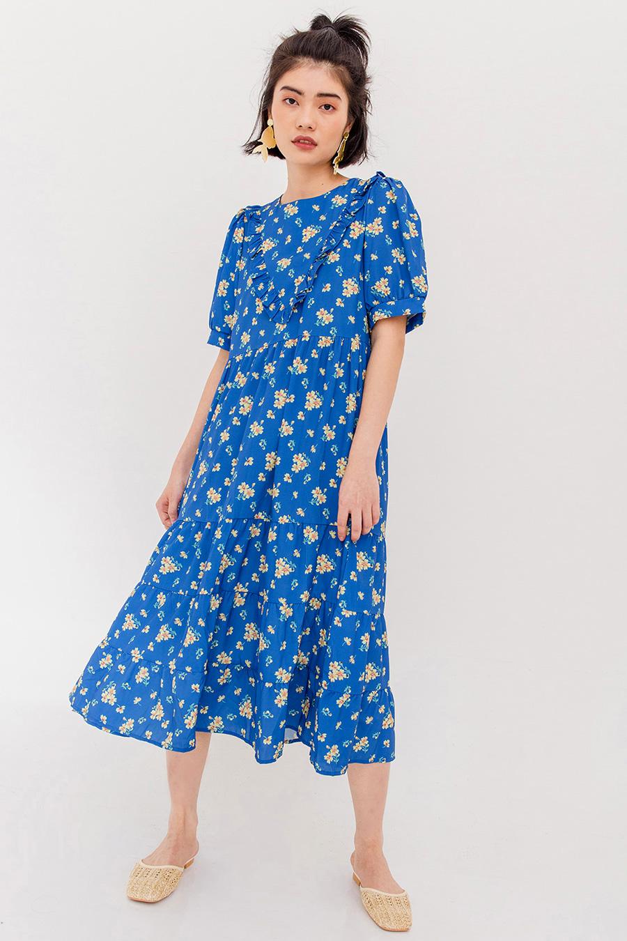 GERDA FLORAL RUFFLE DRESS - BLUE