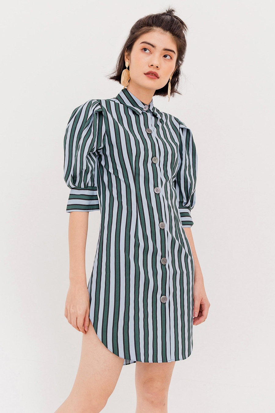 *SALE* GIA STRIPE TUNIC DRESS - BLUE GREEN