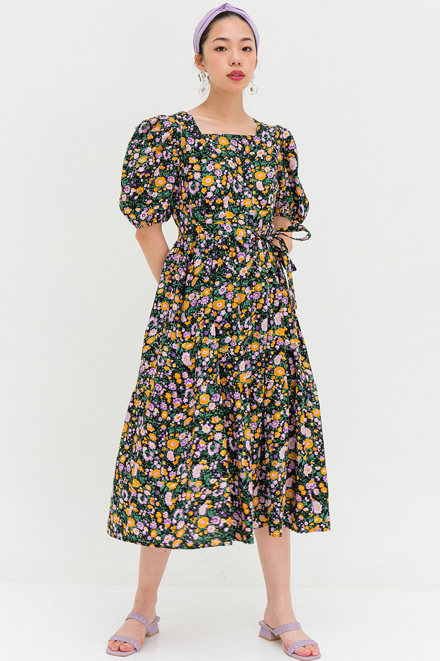 GLADYS DRESS - NOIR FLEUR