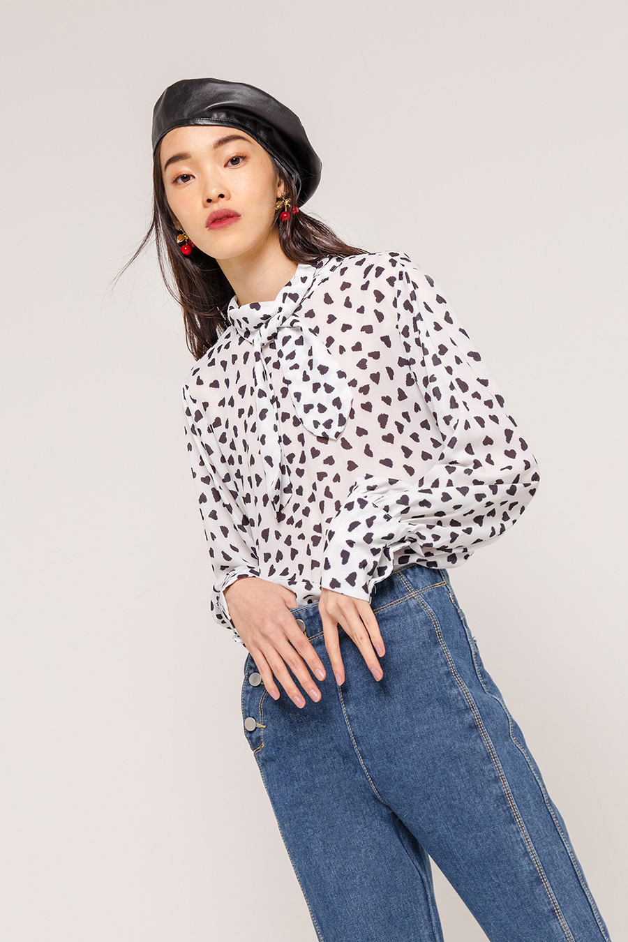 *SALE* GLORIA PRINTED PUSSY BOW BLOUSE - IVORY
