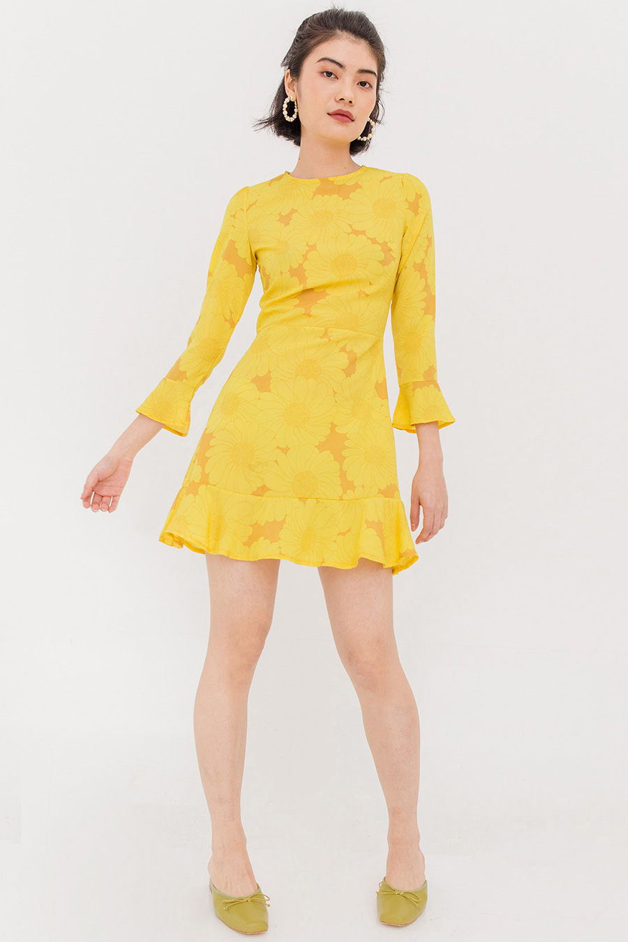 *SALE* GOLDIE FLORAL RUFFLE DRESS - CANARY