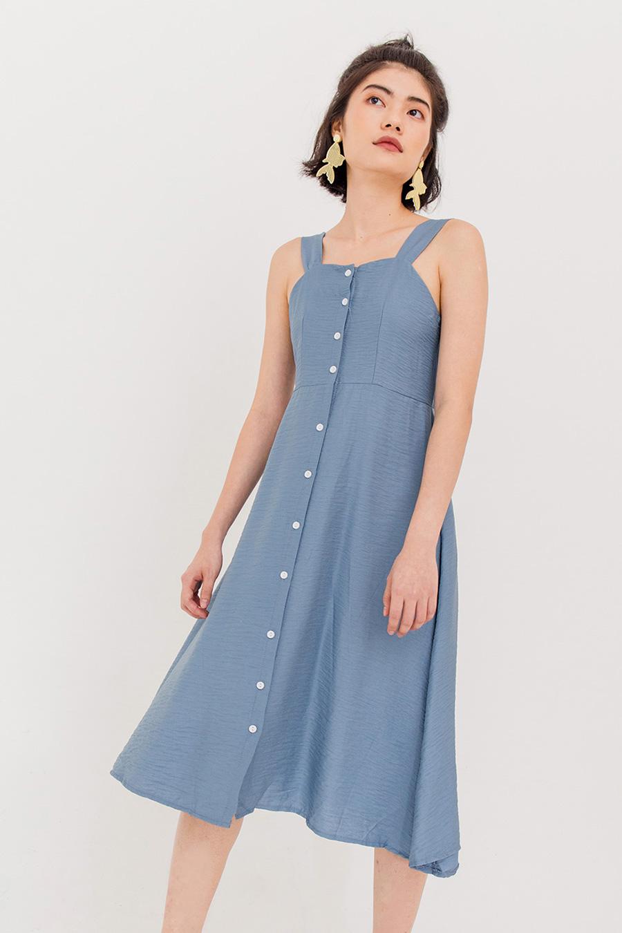 GRETA BUTTON DOWN MIDI DRESS - BLUE